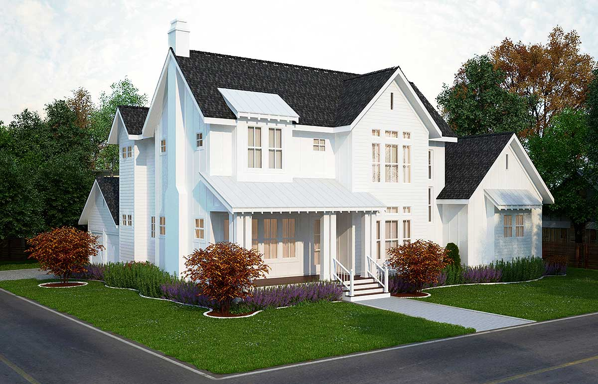 4 Bed Modern Farmhouse Plan - 25406TF | Architectural ...