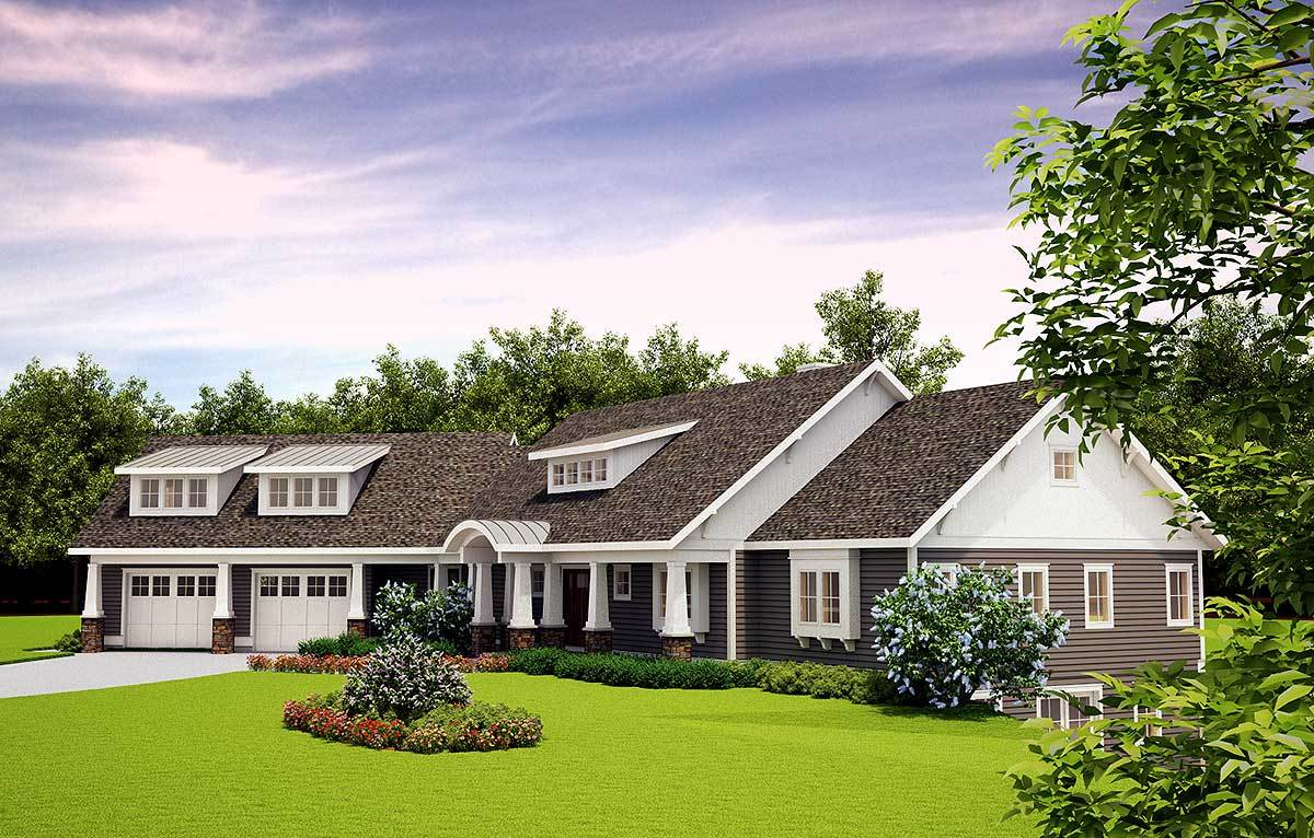 Handsome craftsman home plan with upstairs living suite for Architectural designs com