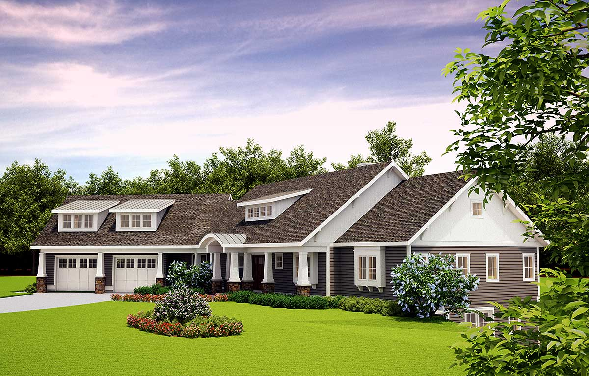 Handsome craftsman home plan with upstairs living suite for Houses with upstairs living