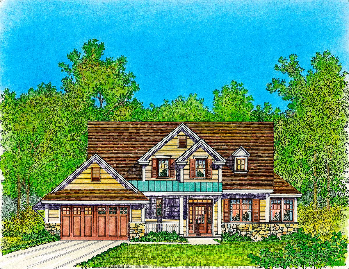 3 bed house plan with bonus room 43077pf 1st floor for House plans with bonus rooms