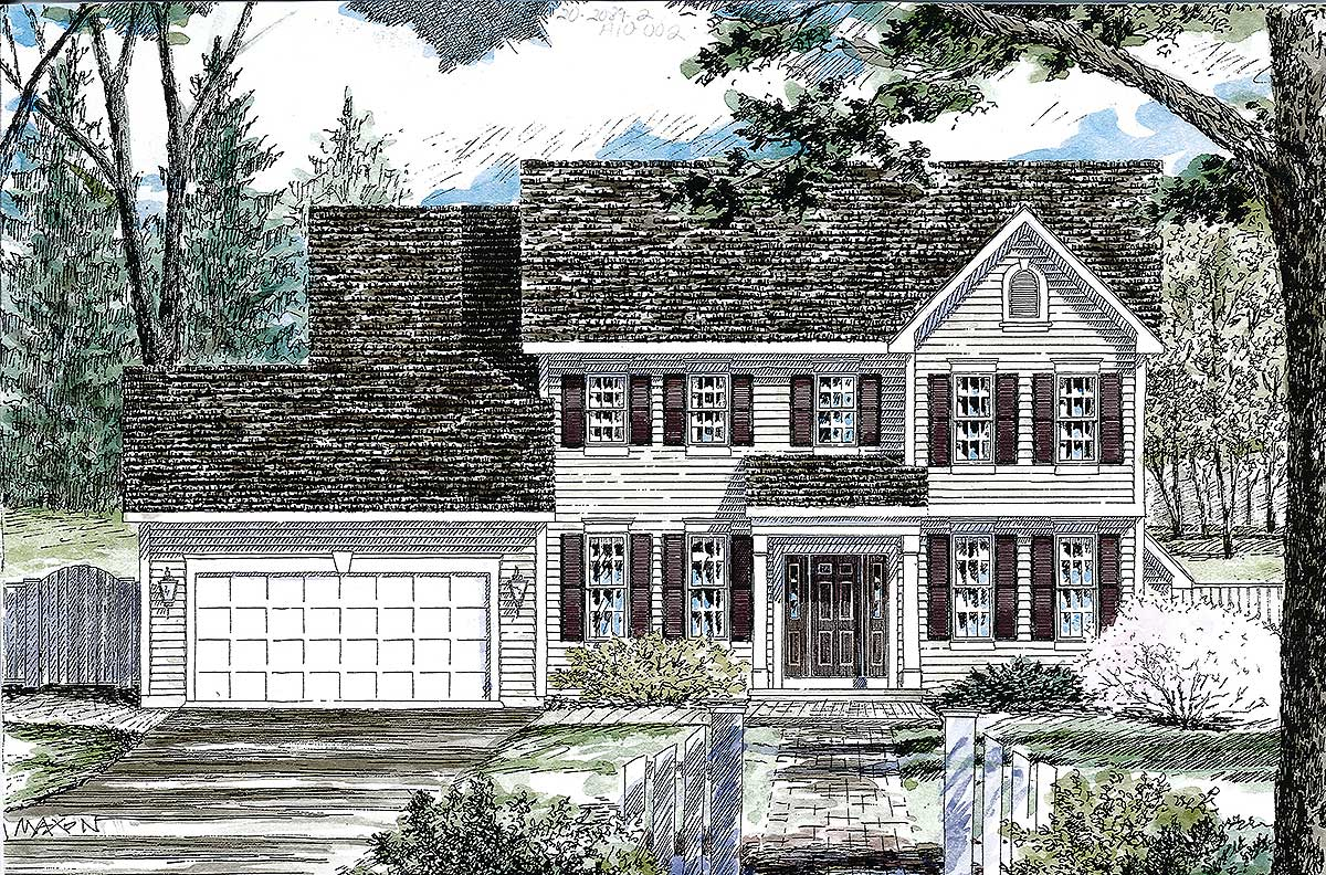 Center Hall Colonial Floor Plans Classic Colonial House Plan 19612jf Architectural