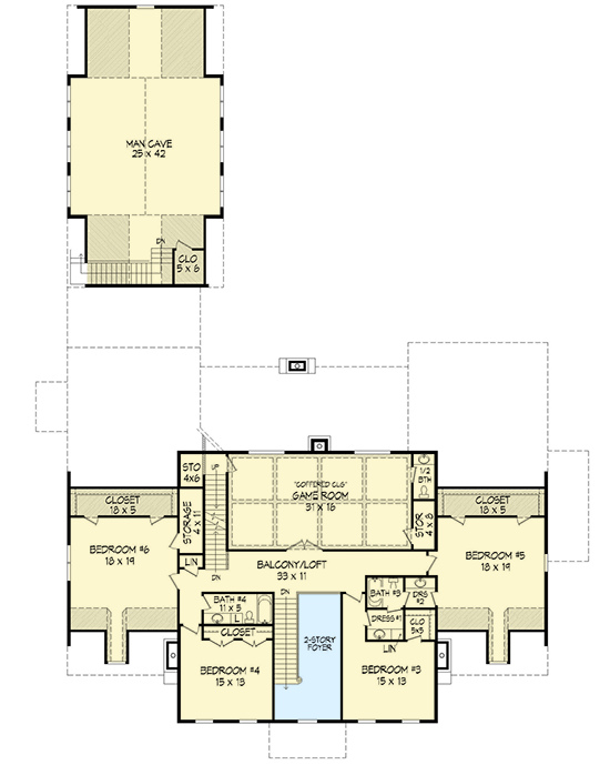 Spacious colonial with man cave 68413vr architectural for Man cave house plans