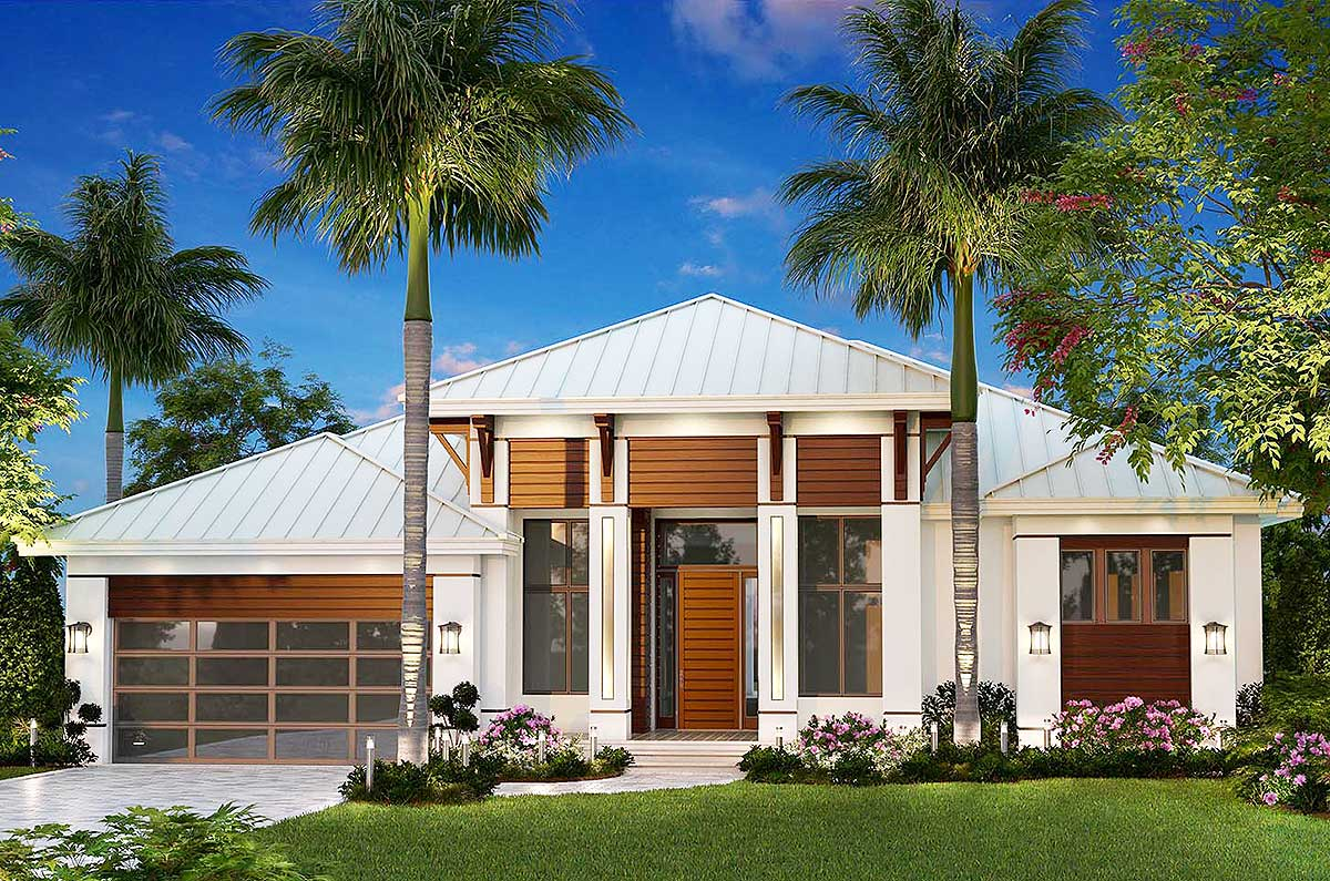 Dramatic Florida House Plan - 66363WE