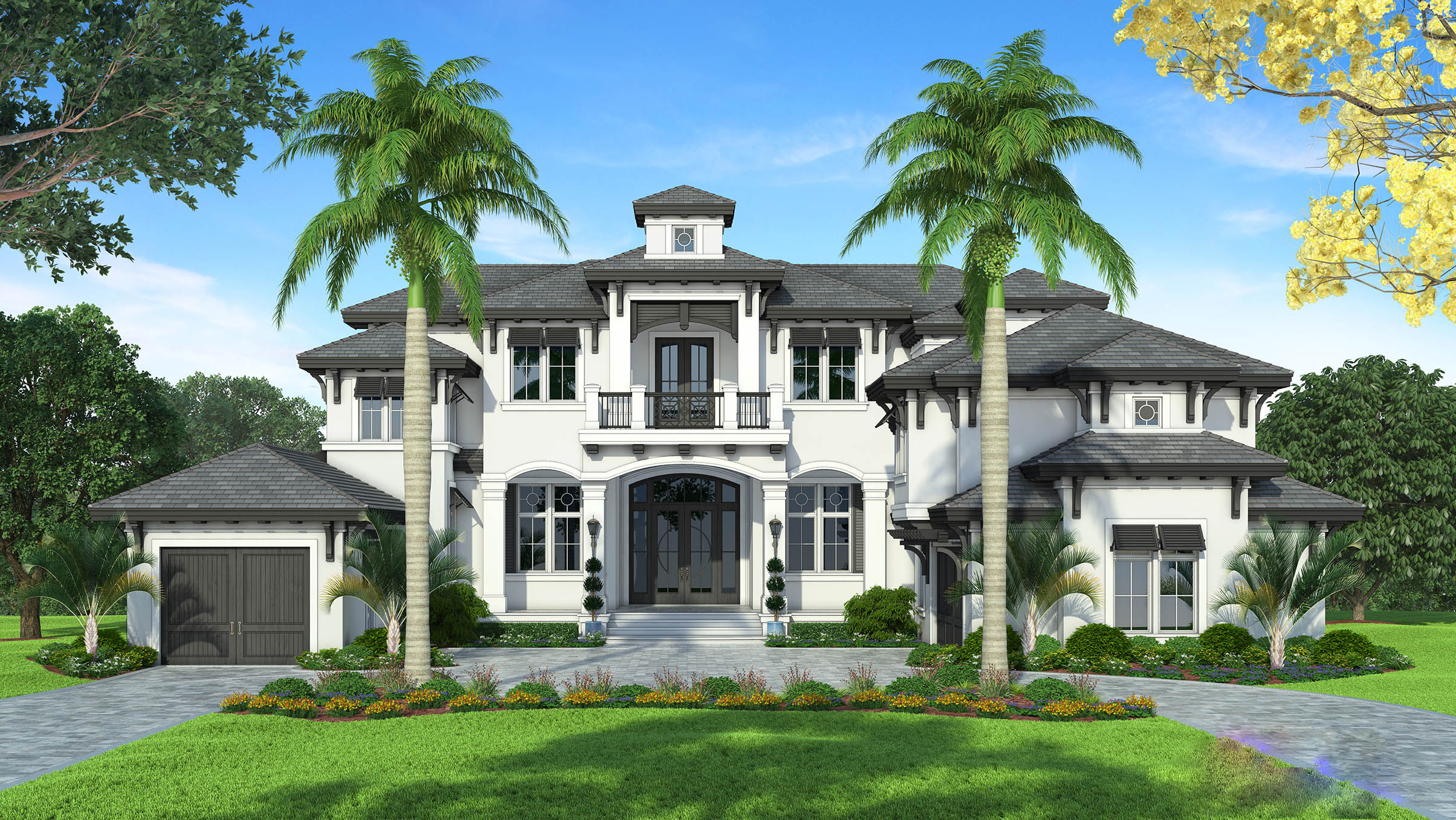 Grand Florida House Plan With Junior Master Suite ...