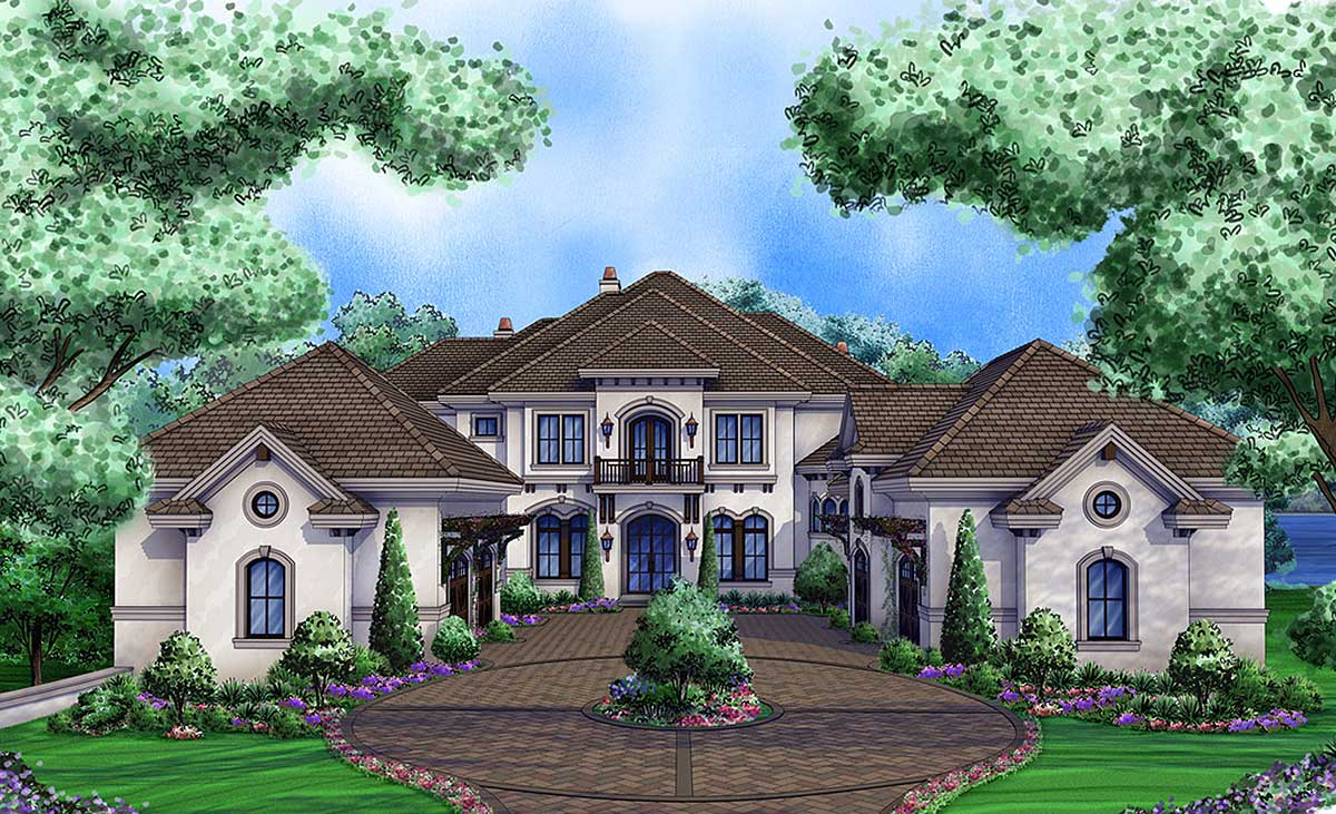 Luxury tuscan home with 3 living levels 66376we for Luxury tuscan house plans