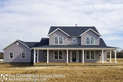 Expanded farmhouse plan with 3 or 4 beds 52269wm for Cost to build farmhouse