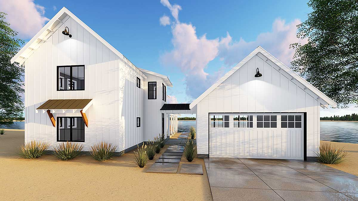 Modern Farmhouse Plan with 2 Beds and Semidetached Garage