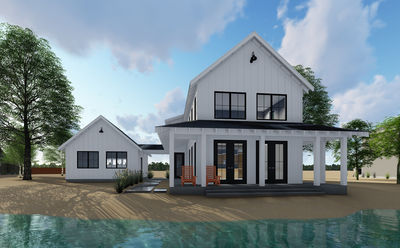 Modern Farmhouse Plan With Beds And Semi Detached Garage