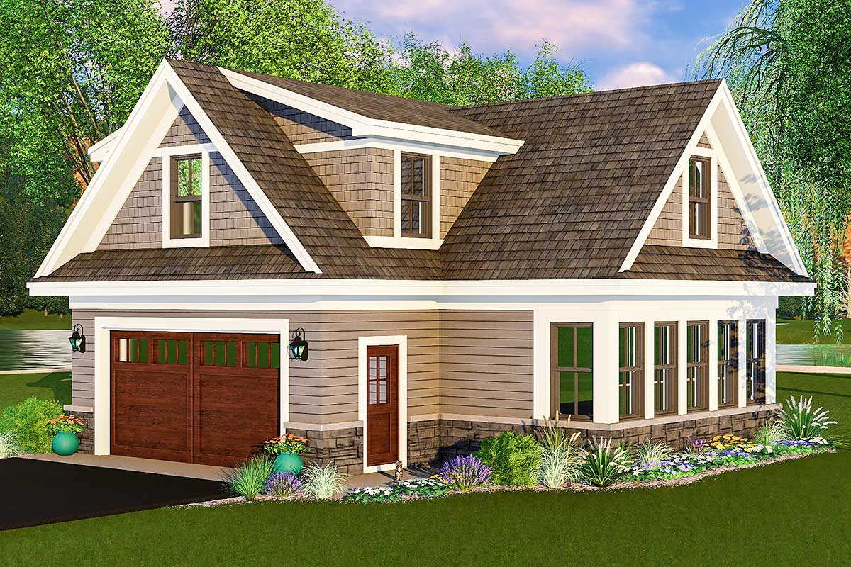 Carriage house plan with man cave potential 14653rk for Modular carriage house
