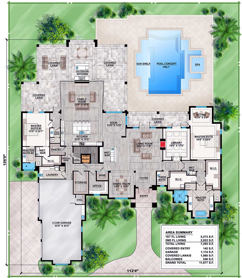 86025bw_f1_1462379501_1479216651 Large Single Story House Plans Florida Lania on