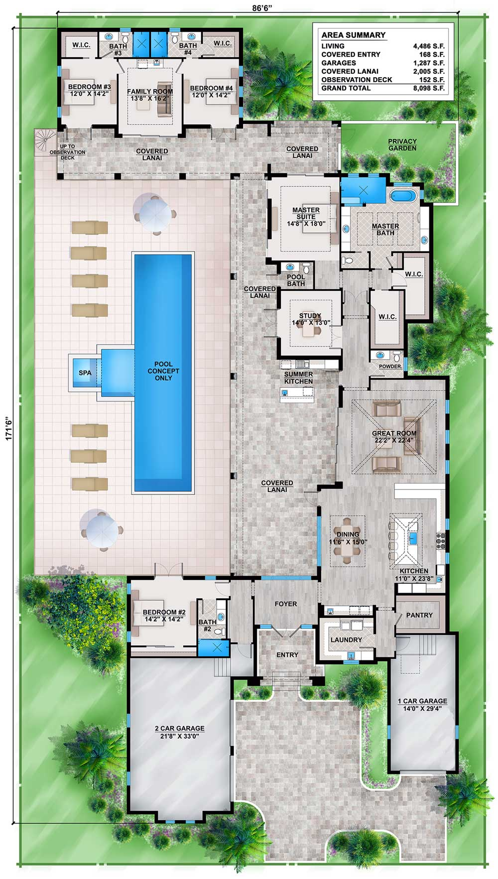 Florida house plan with guest wing 86030bw for U shaped home with unique floor plan