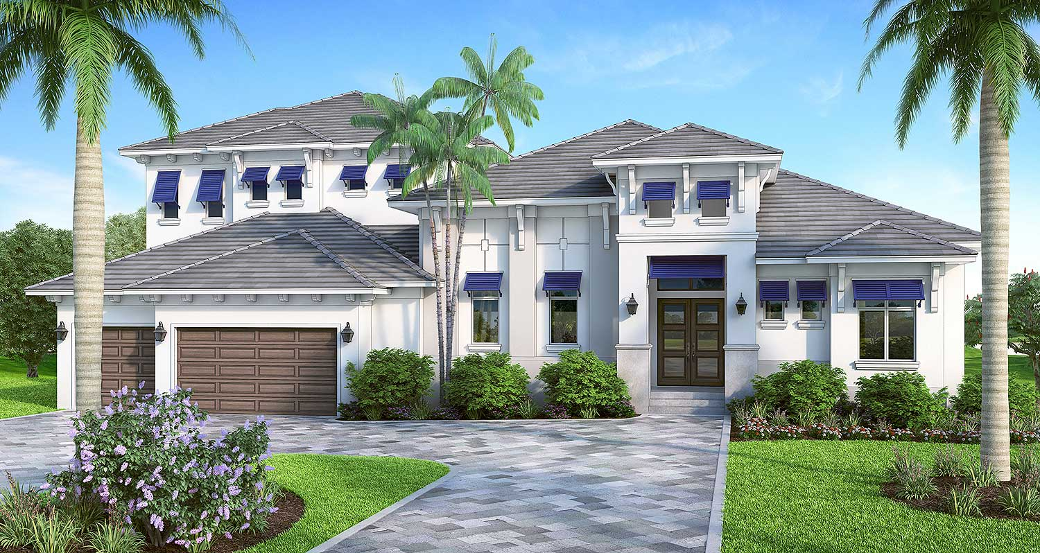 Florida house plan with high style 86034bw for Florida house designs