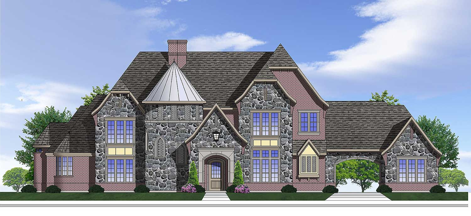 European House Plan With Grand Stair Turret 100028shr