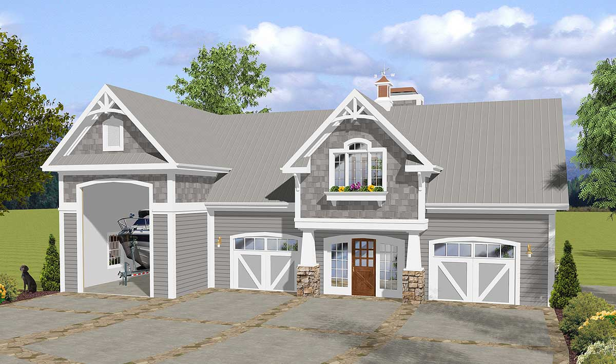 Garage with rv parking and observation deck 20126ga for House plans with observation deck
