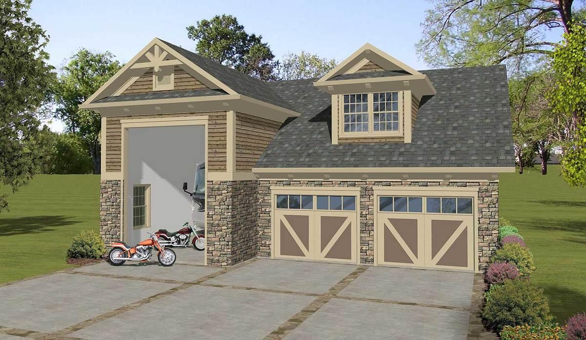 Craftsman garage apartment with rv garage 20127ga for Rv garage apartment plans