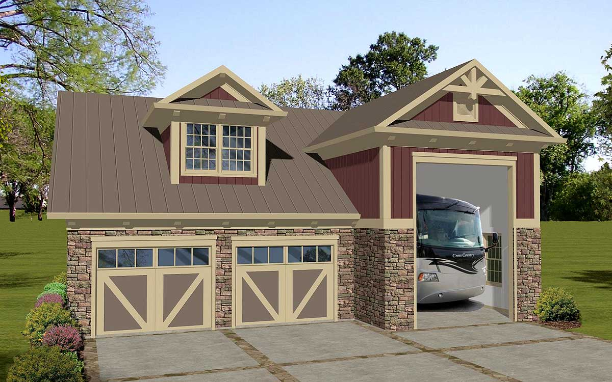 Carriage house apartment with rv garage 20128ga for Large garage plans