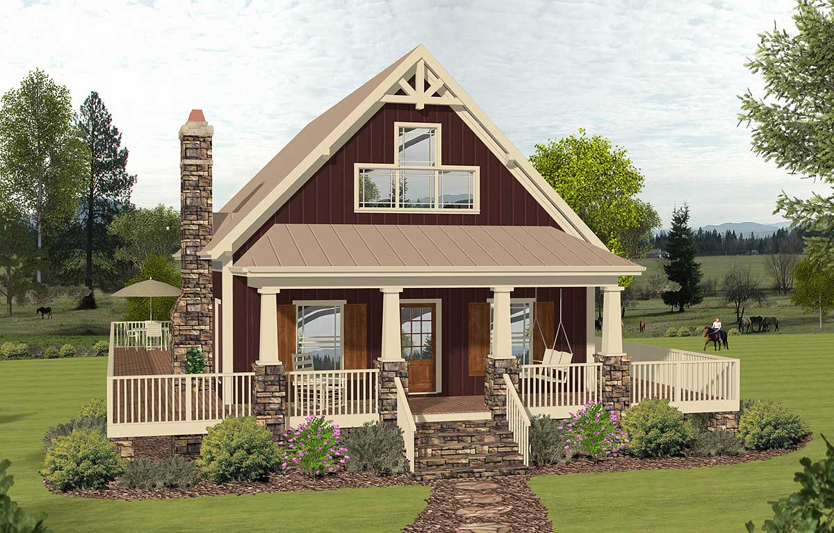 2 story cottage with 2 story great room 20135ga for One story cottage