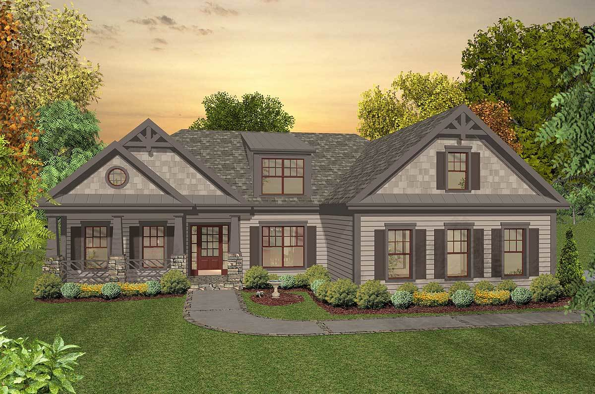 Rugged craftsman with a walkout basement and bonus room for House plans with bonus room upstairs