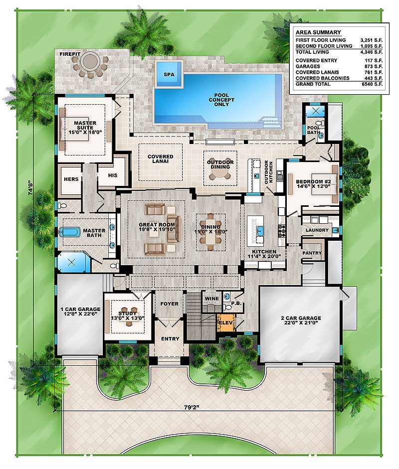 Grand Florida House Plan - 86041BW