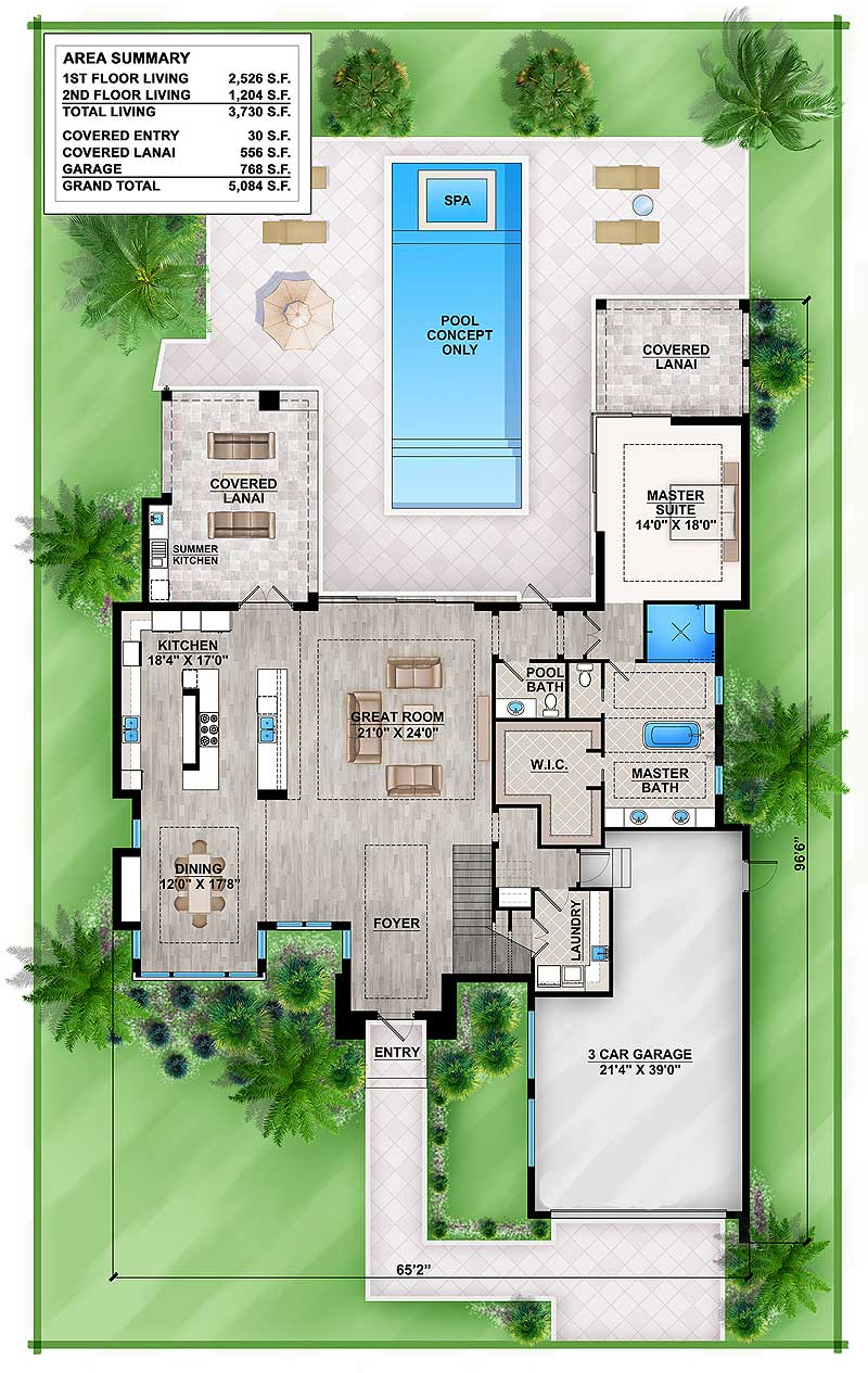 Master Down Modern House Plan with Outdoor Living Room - 86039BW floor plan - Main Level