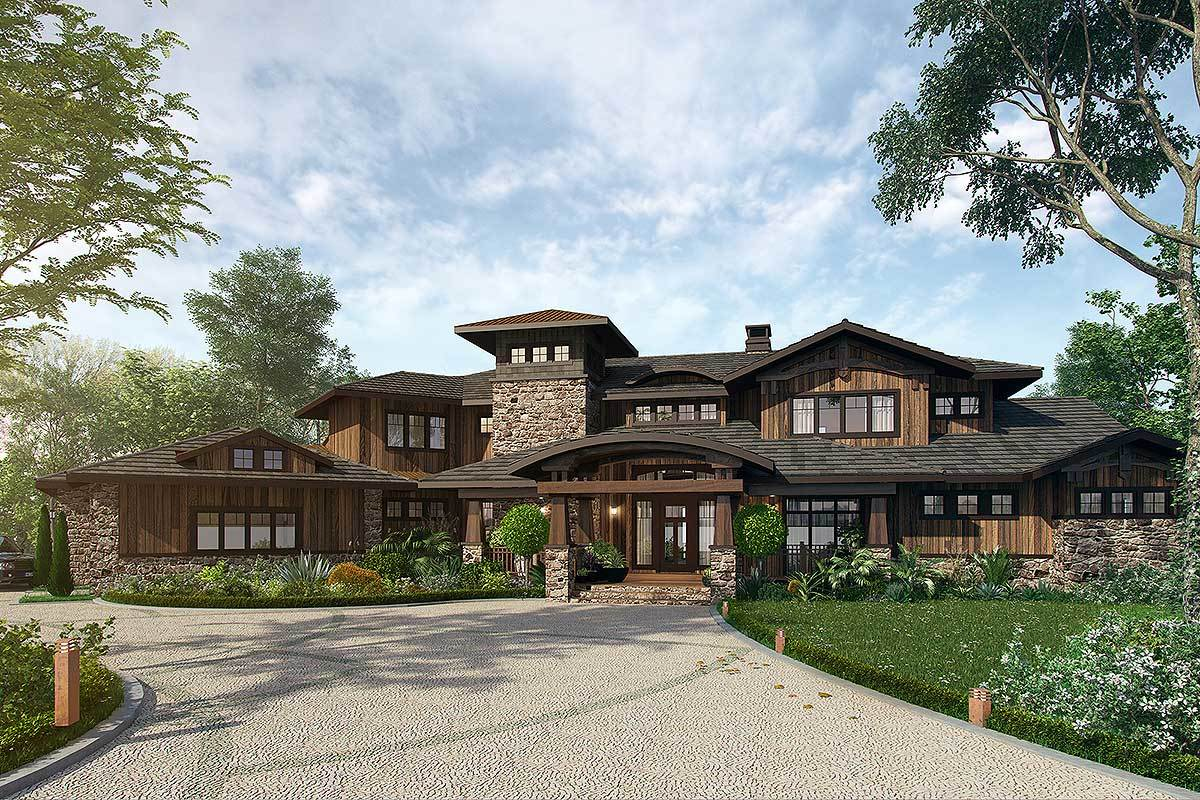 4 bedroom mountain lodge house plan 12943kn for Mountain lodge style house plans