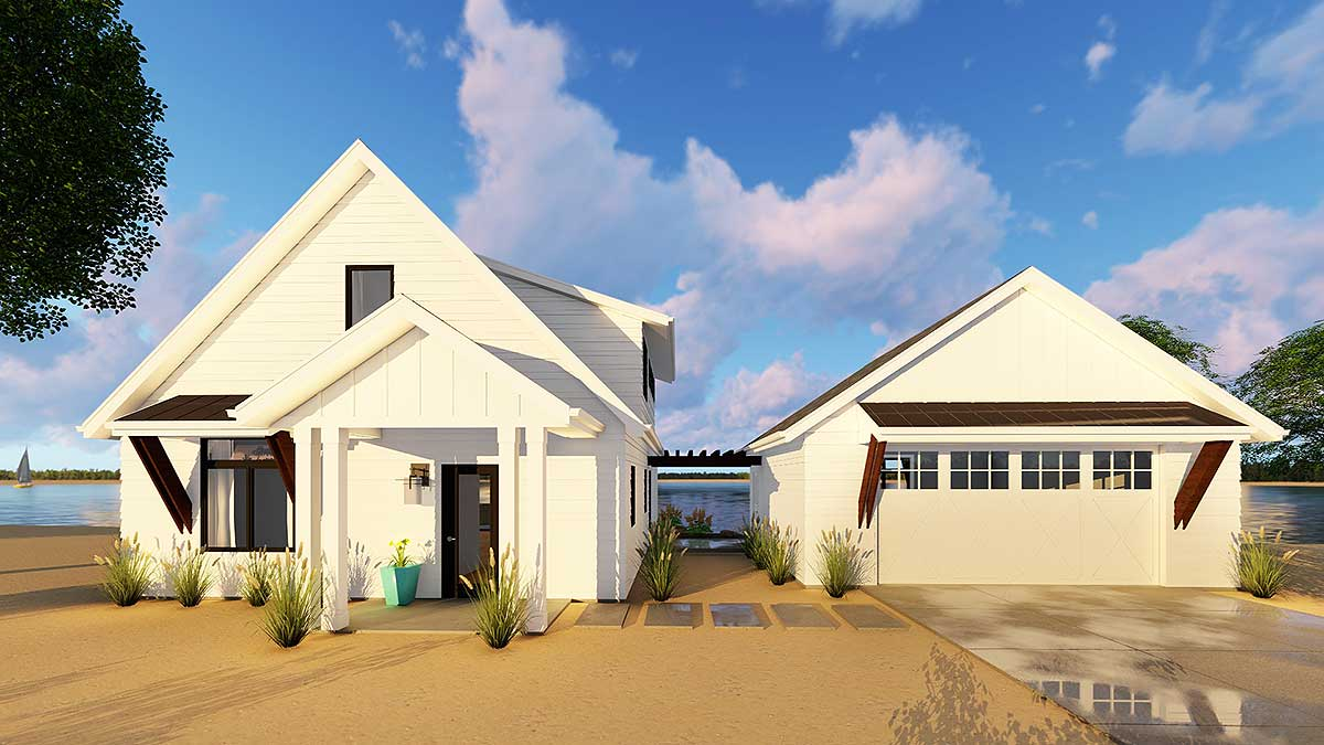 Modern cabin with loft and detached garage 62651dj for Modern garage plans with loft