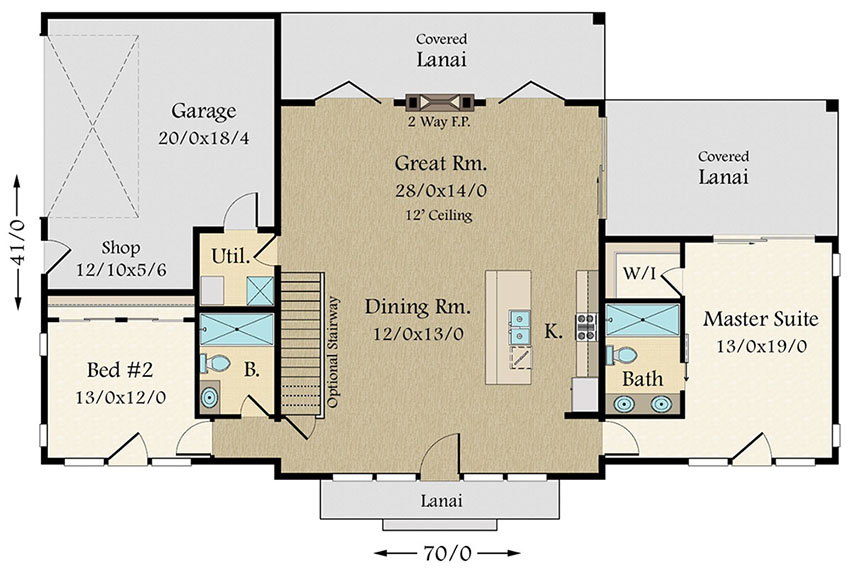 Exclusive Modern House Plan with Split Bedroom Layout - 85132MS floor plan - Main Level