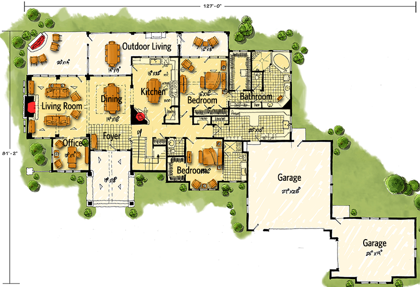 Northwest House Plan with Rustic Touches - 12946KN floor plan - Main Level