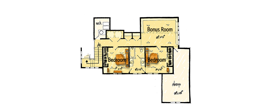Northwest House Plan with Rustic Touches - 12946KN floor plan - 2nd Floor