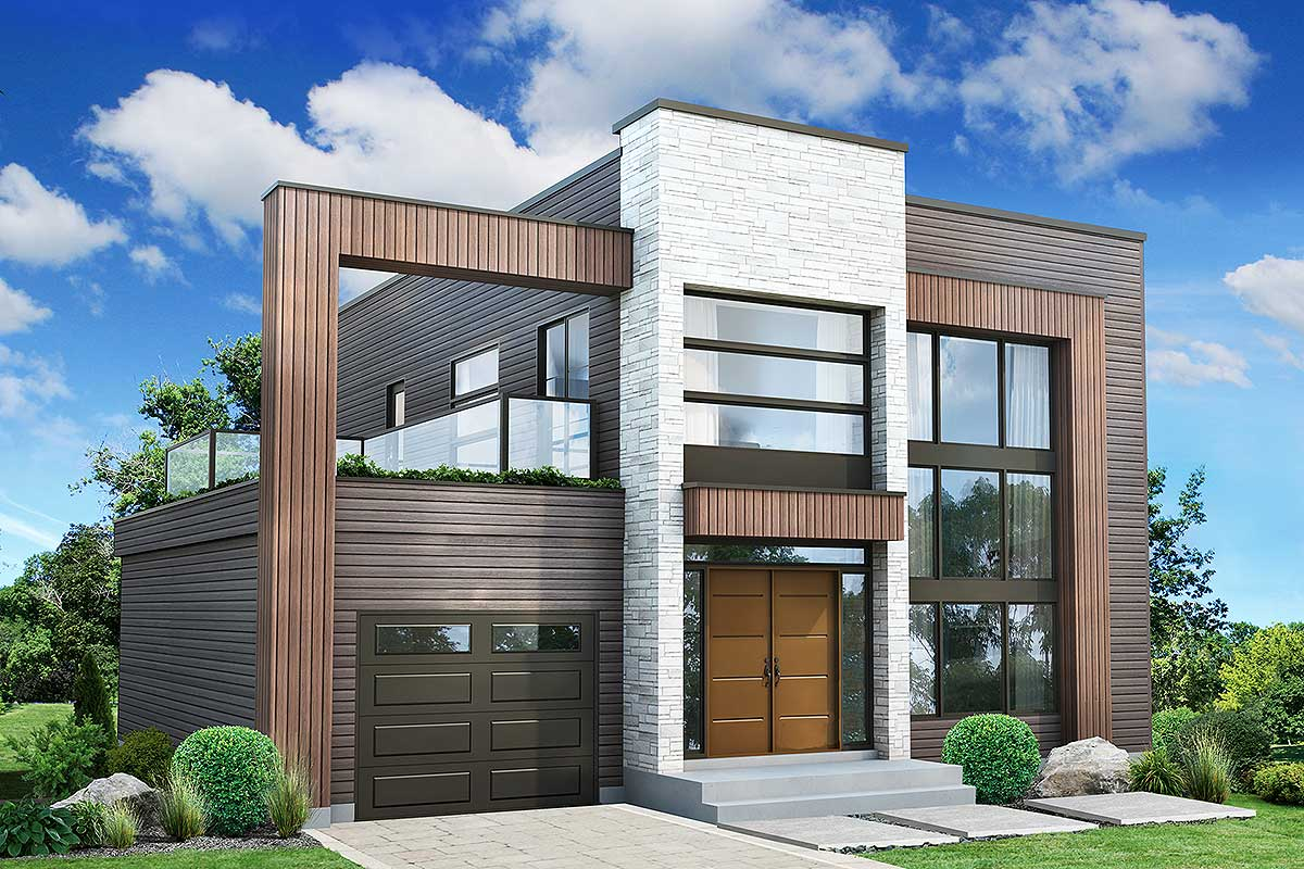 Contemporary House Plan with Second Floor Deck - 80872PM ...