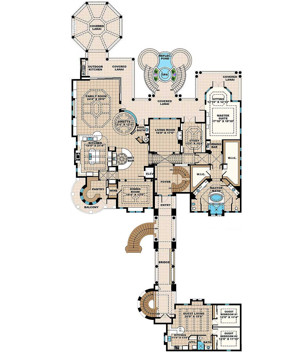 Plan 66342we 3 Bed Beauty With 2 Lanai: Grand Mediterrean Estate House Plan