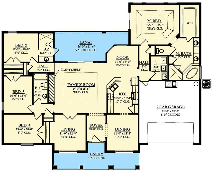 Southern House Plan With Vaulted Lanai 82187ka