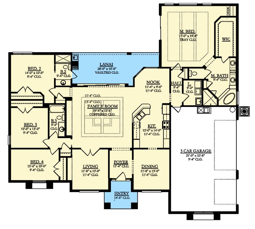 4 Bed Mediterranean House Plan with Lanai 82192KA