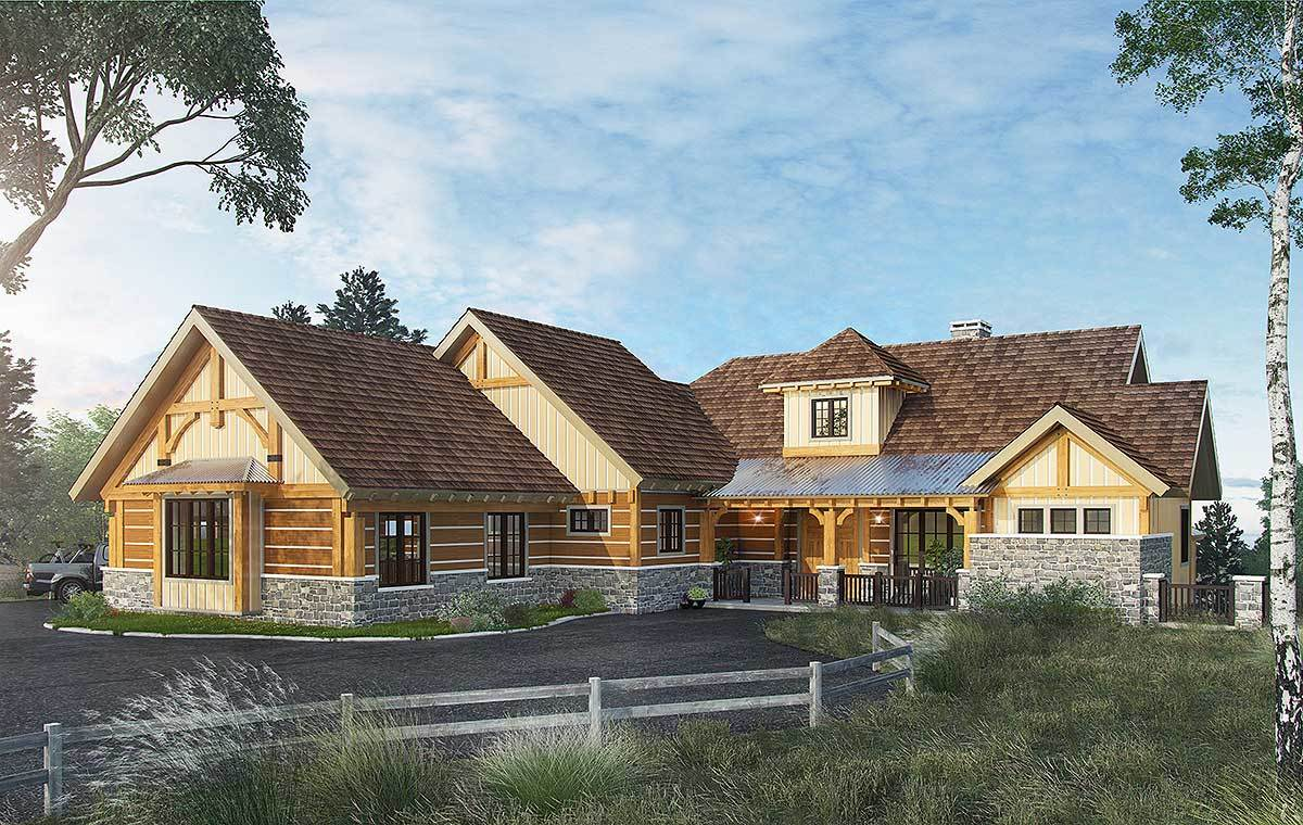 High end mountain house plan with finished lower level for Farmhouse plans with basement