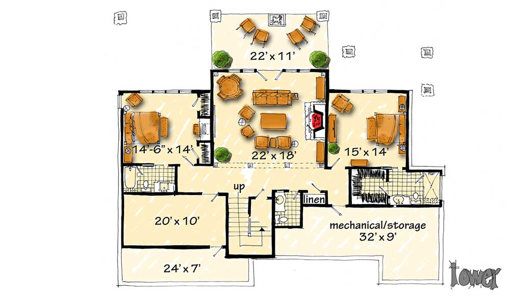 High end mountain house plan with finished lower level for High end home plans
