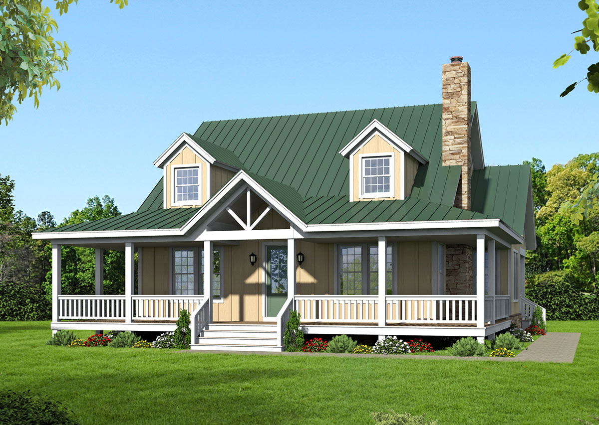 Country living with wraparound porch 68432vr for Country living house plans