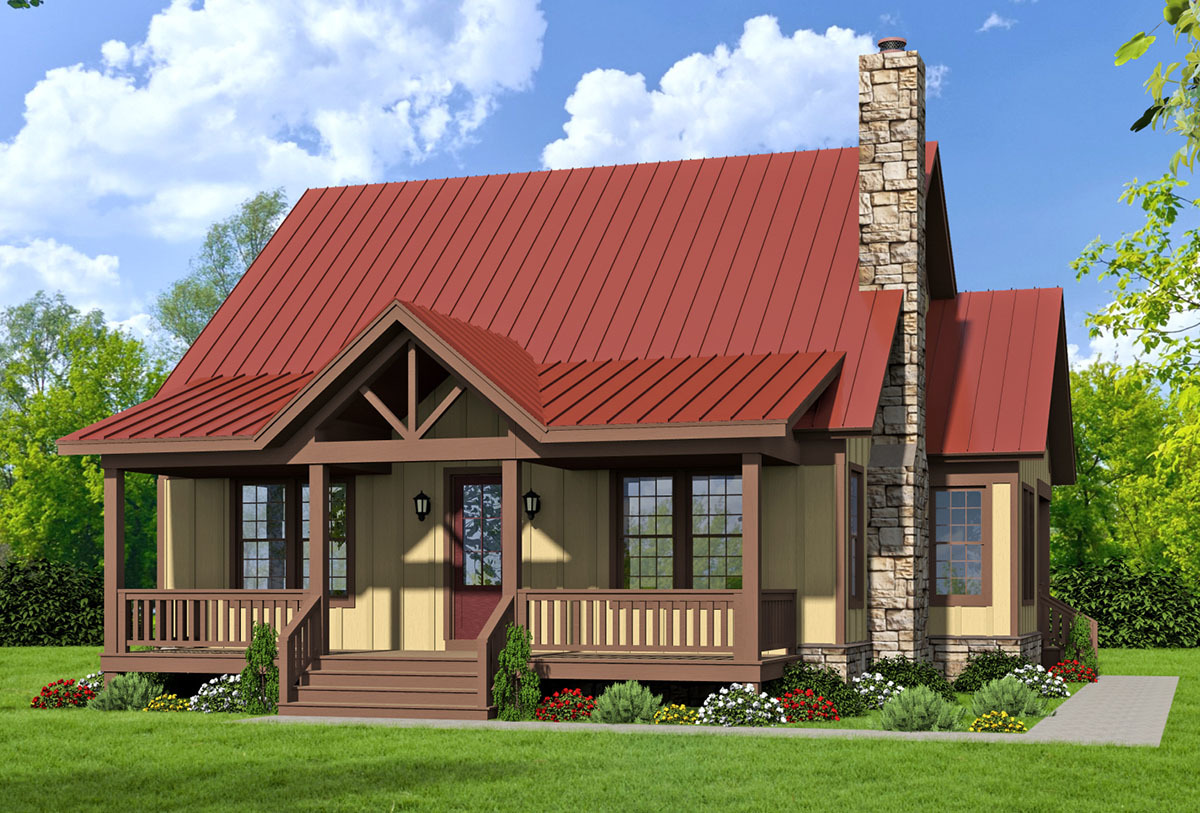 Three bed country home plan with two master suites for Bunk house plans