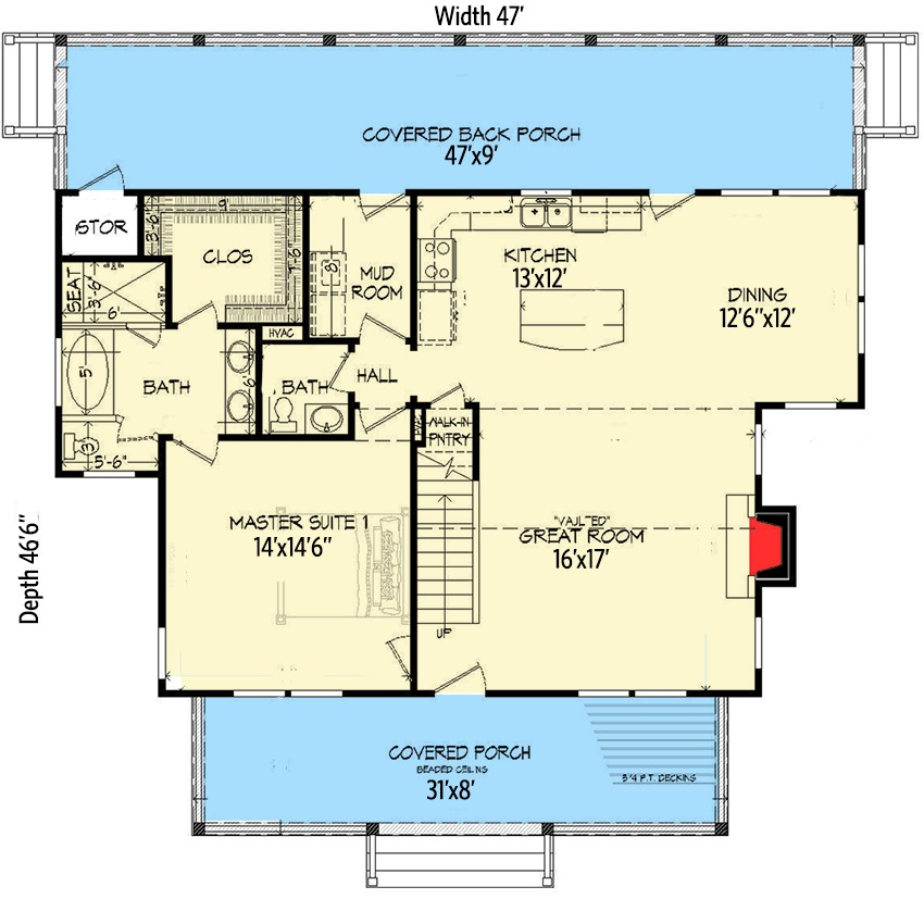 Three bed country home plan with two master suites for Home plans with two master suites