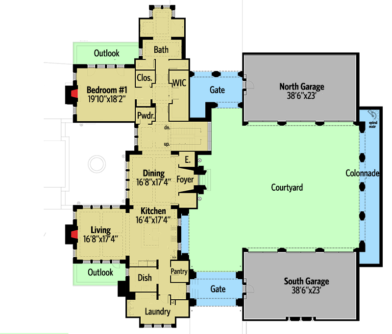 Castle house plan with six master suites for a hillside for Castle house plans with courtyard