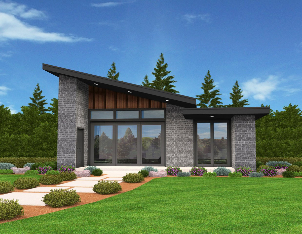 Exclusive tiny modern house plan with alternate exteriors for New house plans