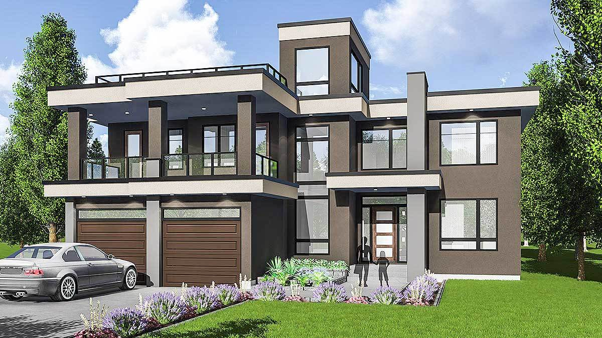 modern house plans with roof deck