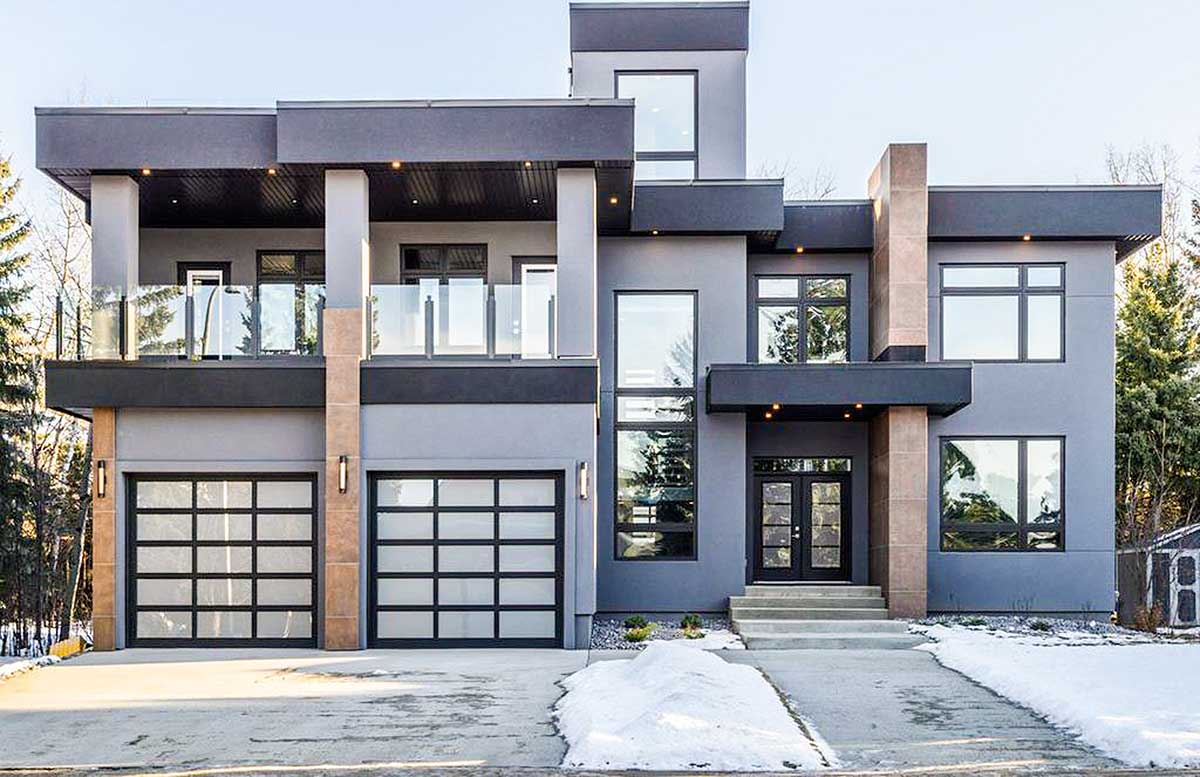 modern house plan with roof top deck