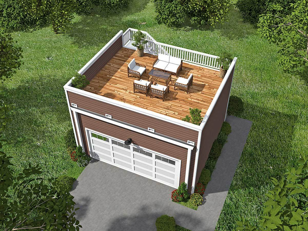 Garage with roof top deck 68436vr architectural for Garage deck