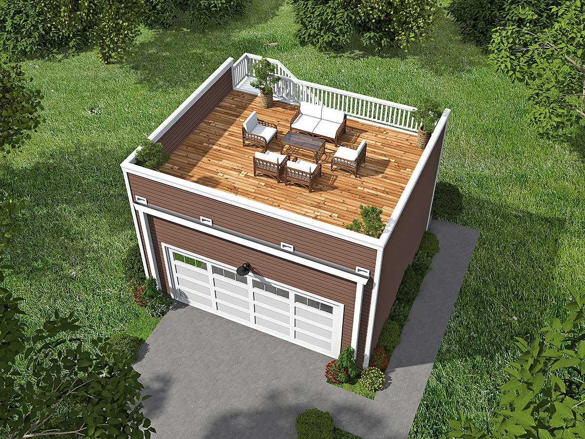 Garage With Roof Top Deck 68436vr Architectural