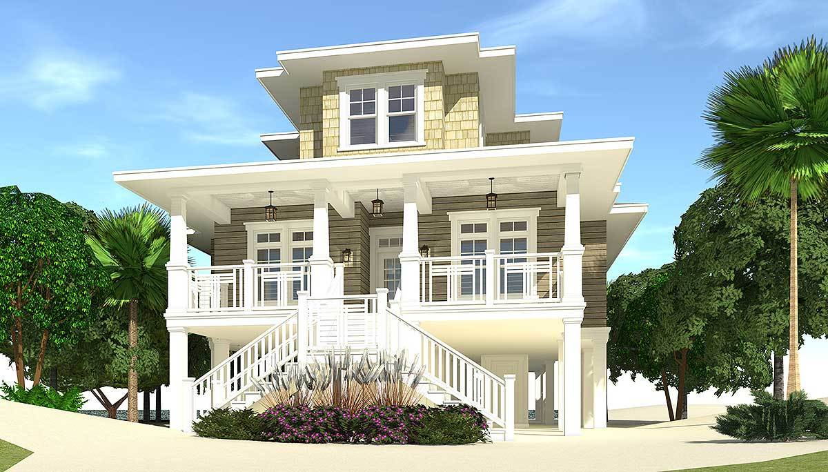 4 Bed Piling Home Plan With Great Views 44137td