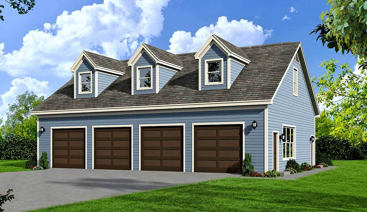 Flexible 4 bay garage plan with full bath and 3 dormers for 4 bay garage plans