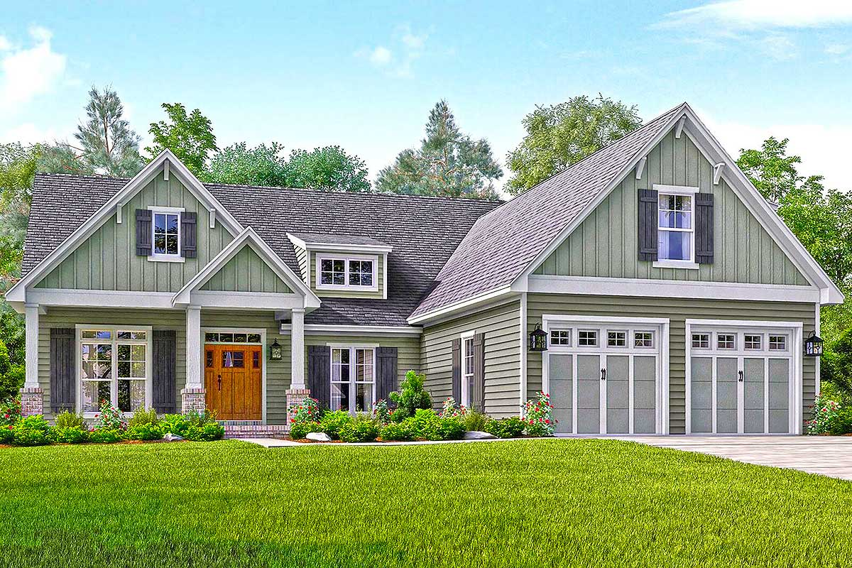 Well appointed craftsman house plan 51738hz for 2 bedroom craftsman style house plans
