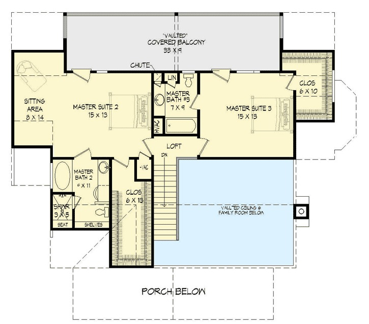 Three master suites 68440vr 1st floor master suite for House plans with 3 master suites