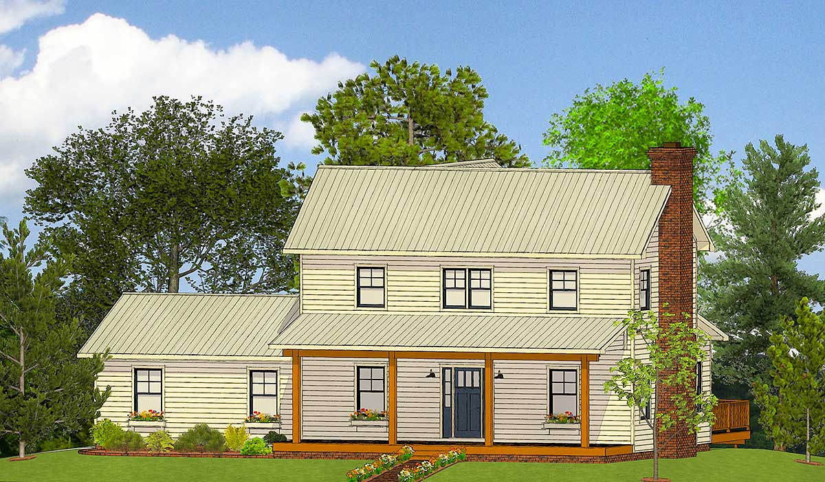 Exclusive farmhouse plan with open concept living for Architectural designs farmhouse