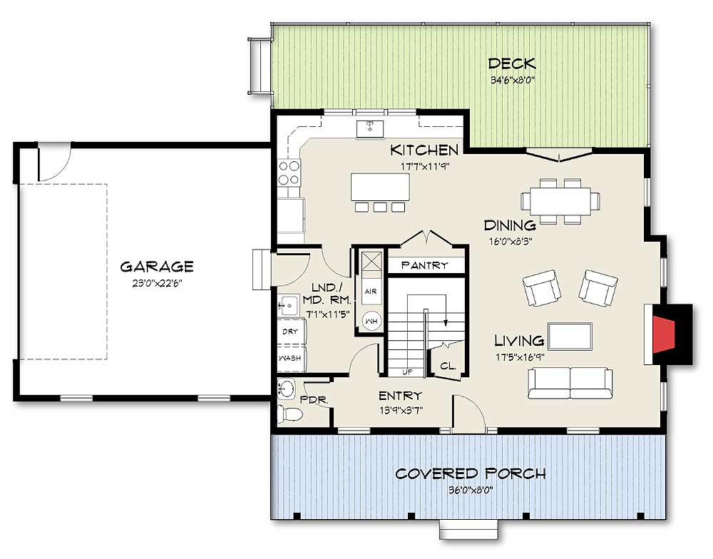 Exclusive farmhouse plan with open concept living for Architectural design home plans